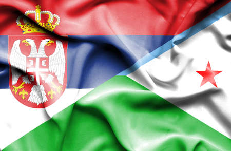serbia: Waving flag of Dijbouti and Serbia
