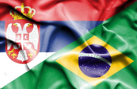 serbia: Waving flag of Brazil and Serbia
