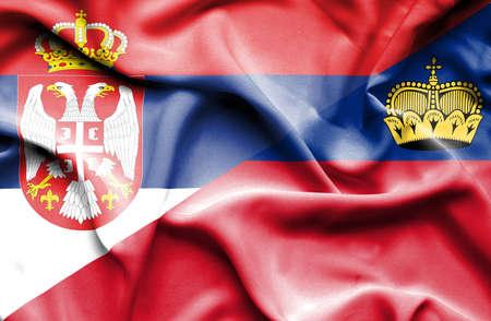 lichtenstein: Waving flag of Lichtenstein and Serbia