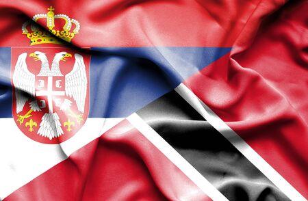 tobago: Waving flag of Trinidad and Tobago and Serbia Stock Photo