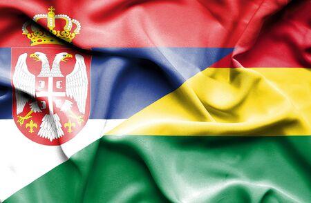 serbia: Waving flag of Bolivia and Serbia