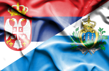 san marino: Waving flag of San Marino and Serbia