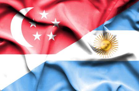 singaporean flag: Waving flag of Argentina and Singapore