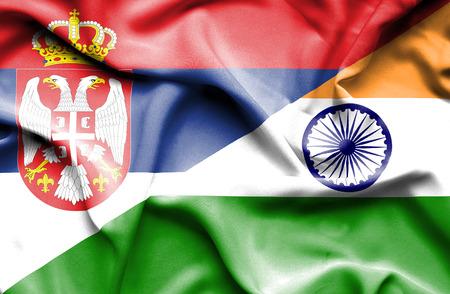 serbia: Waving flag of India and Serbia