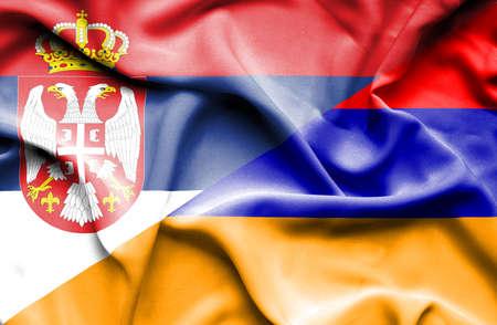 serbia: Waving flag of Armenia and Serbia