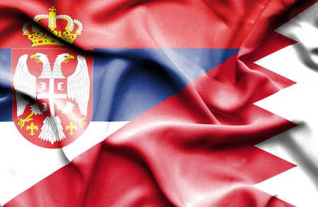 serbia: Waving flag of Bahrain and Serbia