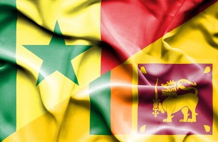 sri lankan flag: Waving flag of Sri Lanka and Senegal