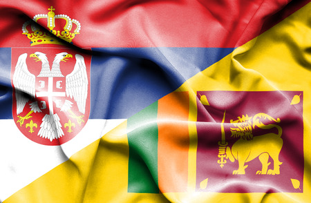 sri lankan flag: Waving flag of Sri Lanka and Serbia Stock Photo