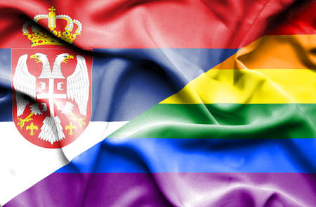 serbia: Waving flag of Pride and Serbia