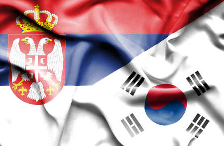 serbia: Waving flag of South Korea and Serbia