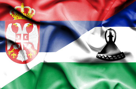 lesotho: Waving flag of Lesotho and Serbia