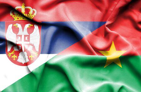 serbia: Waving flag of Burkina Faso and Serbia