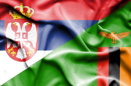zimbabwe: Waving flag of Zimbabwe and Serbia
