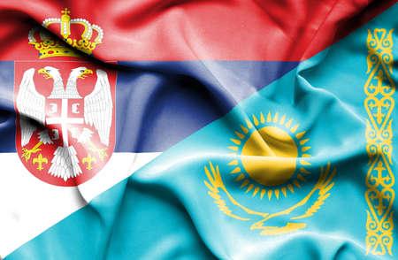 serbia: Waving flag of Kazakhstan and Serbia Stock Photo