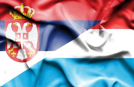 serbia: Waving flag of Luxembourg and Serbia