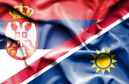 serbia: Waving flag of Namibia and Serbia