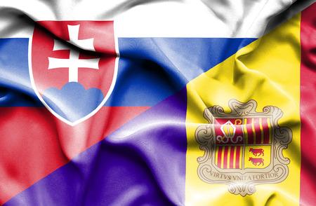 slovak: Waving flag of Andorra and Slovak Stock Photo
