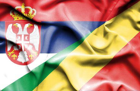 Congo: Waving flag of Congo Republic and Serbia