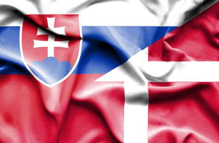 slovak: Waving flag of Denmark and Slovak