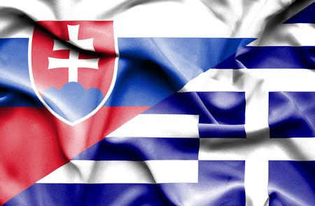 Agitant le drapeau de la Grèce et slovaque Banque d'images - 54406698