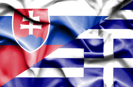 Waving flag of Greece and Slovak