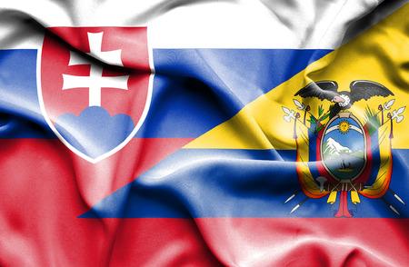 slovak: Waving flag of Ecuador and Slovak