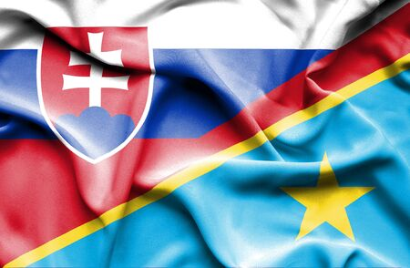 democratic: Waving flag of Congo Democratic Republic and Slovak Stock Photo
