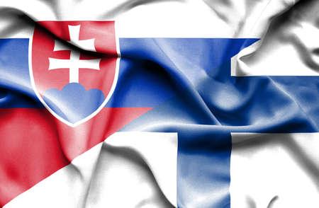 slovak: Waving flag of Finland and Slovak