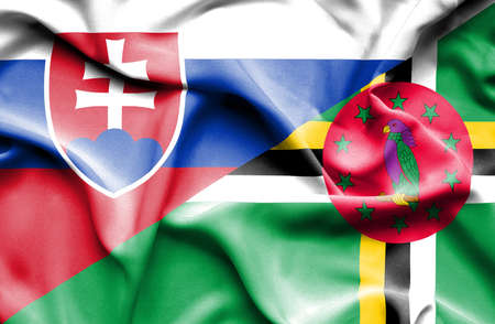 dominica: Waving flag of Dominica and Slovak