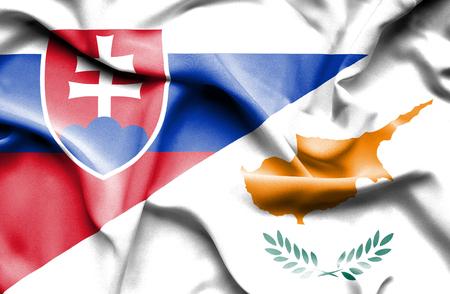 slovak: Waving flag of Cyprus and Slovak