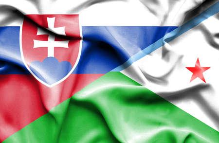slovak: Waving flag of Dijbouti and Slovak Stock Photo
