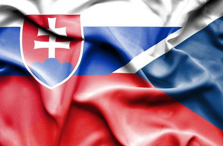 the czech republic: Waving flag of Czech Republic and Slovak