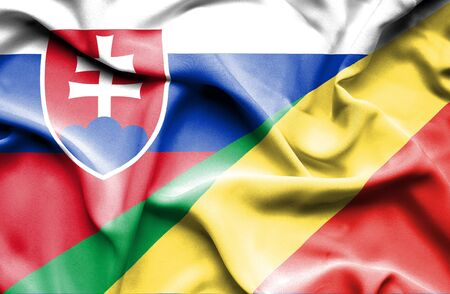 Congo: Waving flag of Congo Republic and Slovak