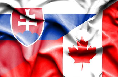 slovak: Waving flag of Canada and Slovak Stock Photo