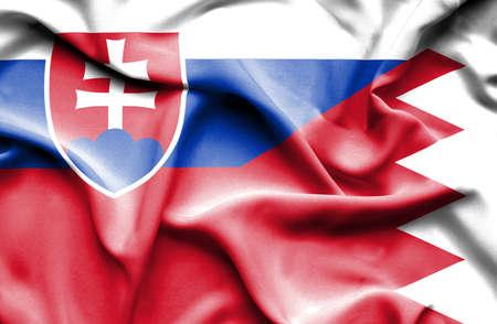 slovak: Waving flag of Bahrain and Slovak