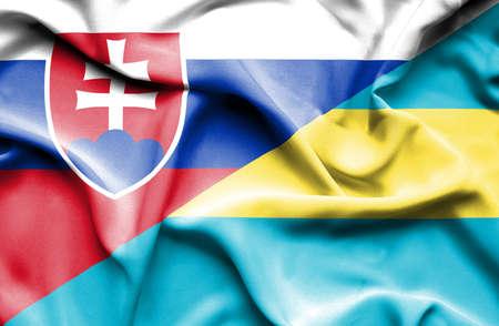 slovak: Waving flag of Bahamas and Slovak