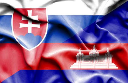 slovak: Waving flag of Cambodia and Slovak