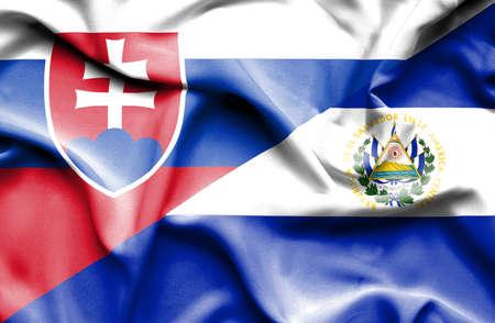 el salvador: Waving flag of El Salvador and Slovak