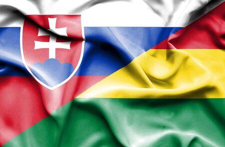 bolivia: Waving flag of Bolivia and Slovak Stock Photo