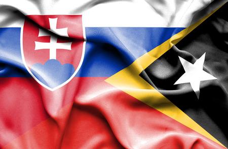 slovak: Waving flag of East Timor and Slovak