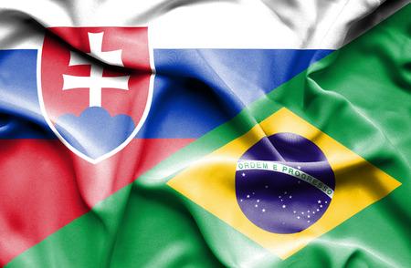 slovak: Waving flag of Brazil and Slovak