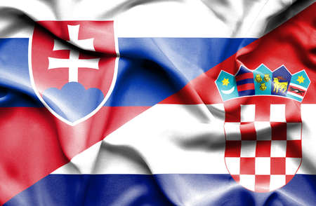 slovak: Waving flag of Croatia and Slovak