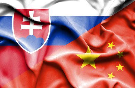 slovak: Waving flag of China and Slovak