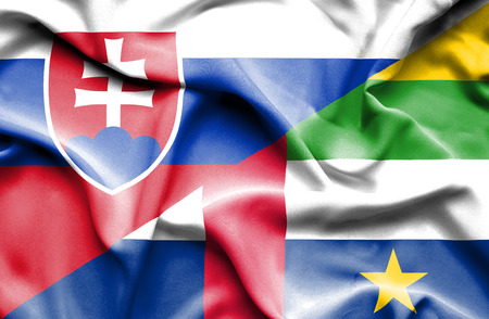 slovak: Waving flag of Central African Republic and Slovak
