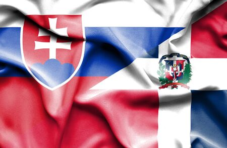 dominican republic: Waving flag of Dominican Republic and Slovak Stock Photo