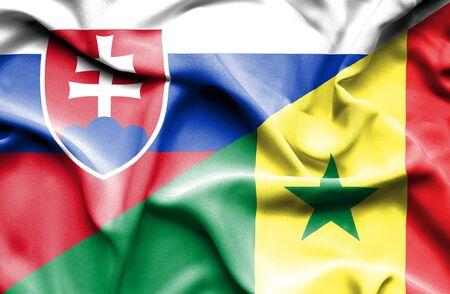 slovak: Waving flag of Senegal and Slovak Stock Photo