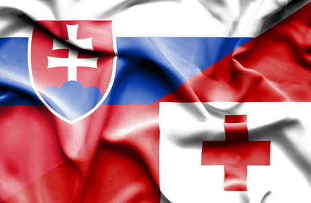 slovak: Waving flag of Tonga and Slovak