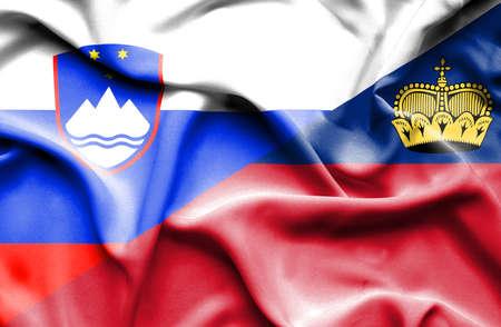 lichtenstein: Waving flag of Lichtenstein and Slovenia Stock Photo
