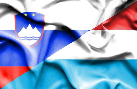 slovenia: Waving flag of Luxembourg and Slovenia