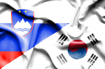 slovenia: Waving flag of South Korea and Slovenia